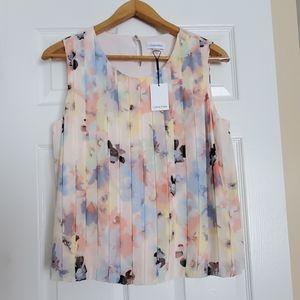Calvin Klein floral pleated sleeveless blouse XL